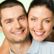 Happy smiling attractive couple, outdoor — Stock Photo #56465725
