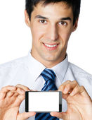Businessman showing blank cellphone or taplet pc  — Stok fotoğraf