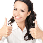 Businesswoman with thumbs up, on white — Stock Photo