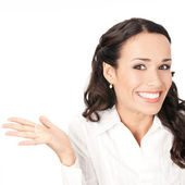 Happy gesturing smiling business woman, isolated — Stock Photo