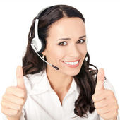 Support operator with thumbs up, on white — Stock Photo