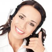 Support phone operator with call me gesture, on white — Stock Photo