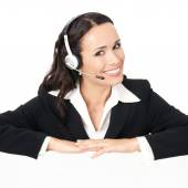 Support phone operator with signboard, isolated  — Stock Photo