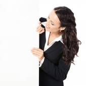 Businesswoman showing blank signboard, over white  — Stock Photo