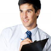 Smiling businessman writing, over white — Stock Photo