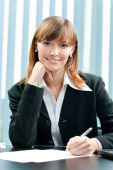 Businesswoman working with document at office — Stock Photo
