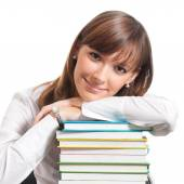 Young woman with books, isolated  — Stock Photo