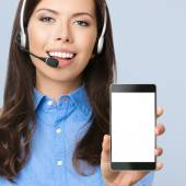 Support phone operator showing blank cellphone — Stok fotoğraf