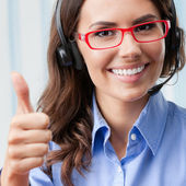 Support phone operator showing thumbs up  — Stock Photo