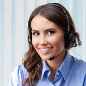 Support phone operator, at workplace — Stock Photo