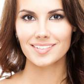 Young happy attractive woman, on white — Stock Photo