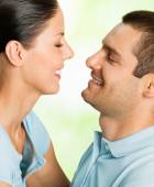Happy smiling attractive couple, outdoor — Stock Photo
