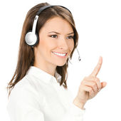 Phone operator pointing at something, on white — Stock Photo