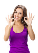 Woman showing okay gesture, on white — Stock Photo