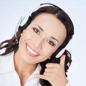 Support telefoon operator met Bel me gebaar — Stockfoto