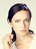 Portrait of thinking serious businesswoman — Stock Photo