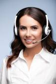 Support phone operator against grey — Stock Photo