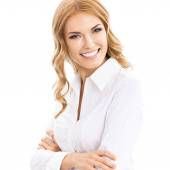 Young cheerful business woman, on white — Stock Photo