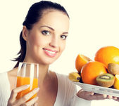 Woman with fruits and orange juice — Stock Photo
