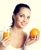 Woman with orange and juice — Stock Photo