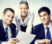 Happy businessteam working at office — Stock Photo