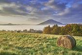 холмистый ландшафт с туман — Стоковое фото