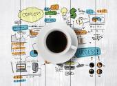 Coffee cup and drawing business strategy — Stock Photo