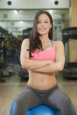 Portrait of happy young woman ready for her workout — Stock Photo