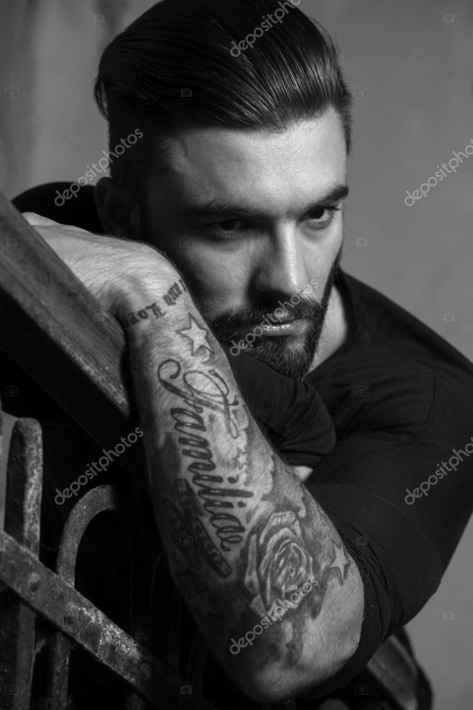 tattoos young beard depositphotos