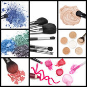 Collection of makeup cosmetics — Stock Photo