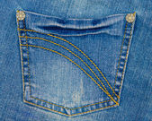 Pocket of blue jeans — Stock Photo