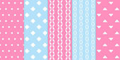 Set of gentle seamless patterns — Stock Vector