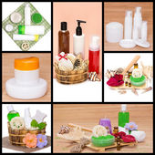Spa and body care cosmetics and accessories collage — Stock Photo