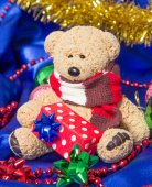 Cute teddy bear with Christmas decorations — Stock Photo