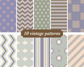 Collection of 10 seamless vintage patterns in the spirit of the  — Stockvektor
