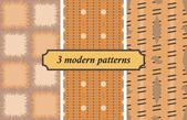 3 moderne naadloze patronen — Stockvector