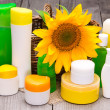 Big collection of different body care cosmetics — Stock Photo #78689530