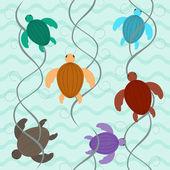 Charming aquatic turtles floating underwater seamless pattern — Stock Vector