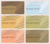 Set of six business cards with elegant pattern of volume stairs- — Vecteur