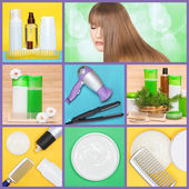 Hair care and styling products and implements collage — Stock Photo