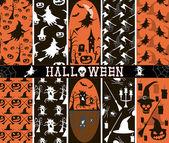 10 patrones de Halloween spooky inconsútiles — Vector de stock
