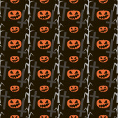 Seamless Halloween pattern of evil pumpkins, dead trees and cros — Stock Photo