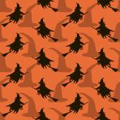 Seamless Halloween pattern of witches flying on broomsticks — Stock Photo