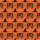 Seamless Halloween pattern of witches hats, broomsticks and evil — Stock Photo