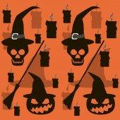 Sin fisuras patrón de Halloween de calaveras y calabazas mal en bruja — Foto de Stock