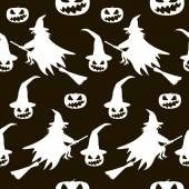 Seamless Halloween pattern of witches on broomsticks and evil pu — Stock Photo