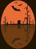 Perfecta imagen de Halloween de murciélagos volando sobre el cementerio siniestro — Foto de Stock