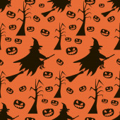 Seamless Halloween pattern of witches on broomsticks, evil pumpk — Stock Photo