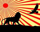 Lion and eagle illustration. — Stock Photo