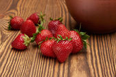 Morning in village with strawberries and cream — Stock Photo